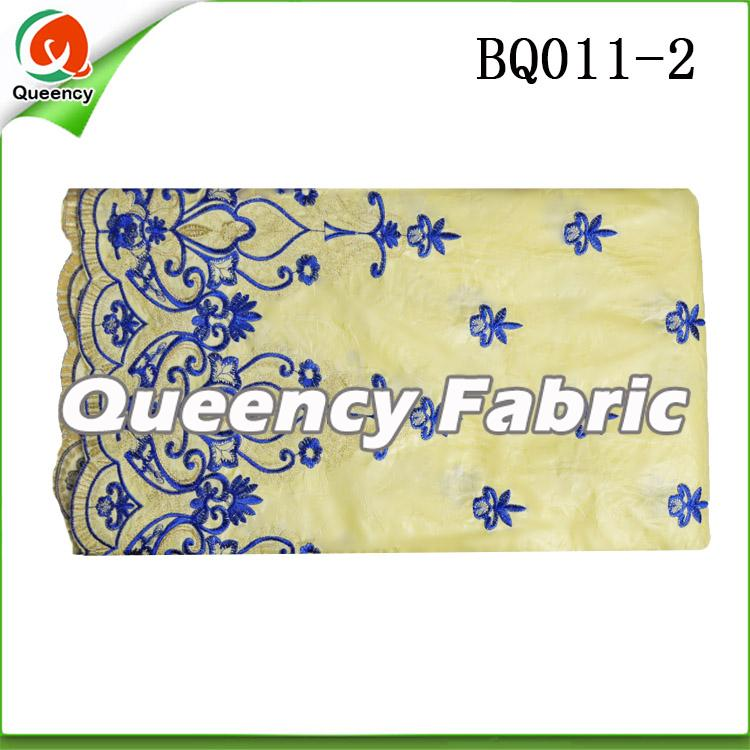 Beige Embroidery bazin fabric