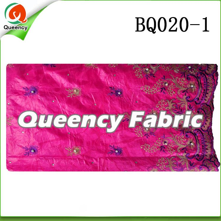 Fushia Embroidery bazin fabric