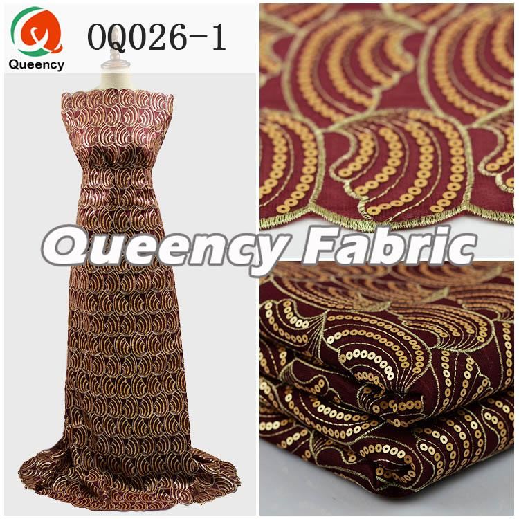 Sequince Organza Fabric In Wine