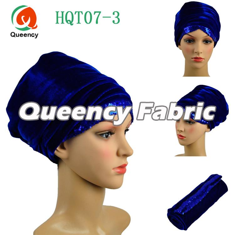 Royal Blue Sequins Turbans