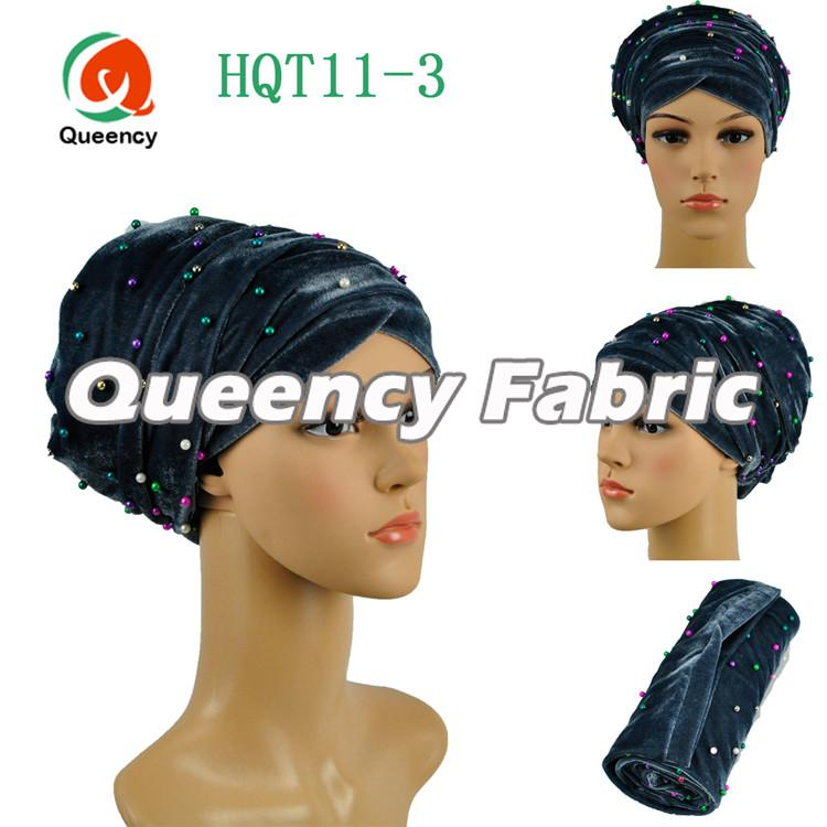 Grey Muslim Headband Beaded Turban