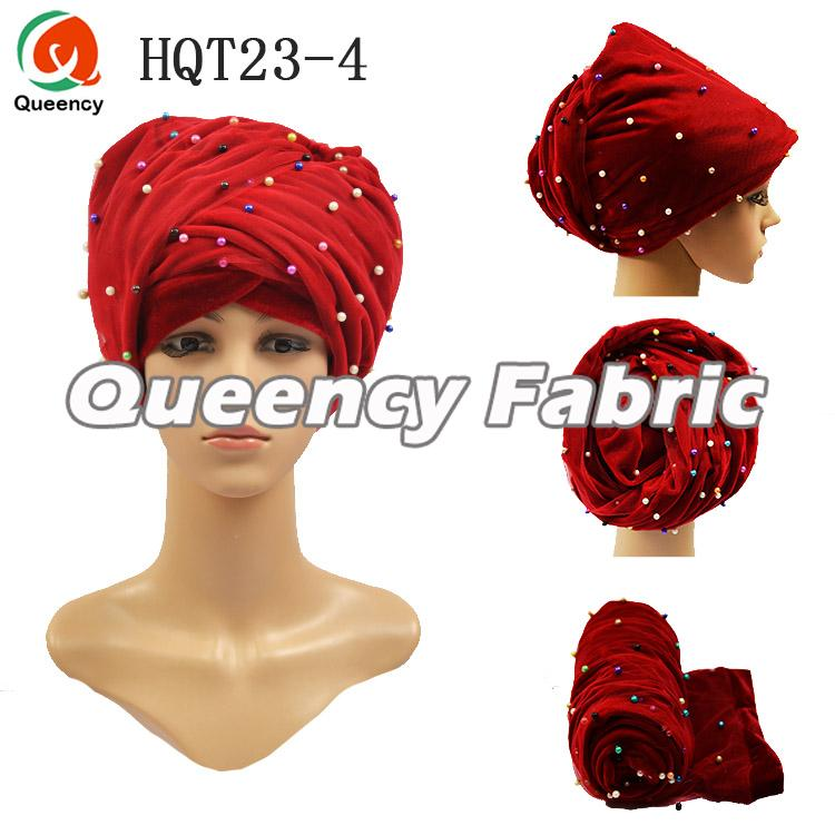Red Turban Beaded Hijab