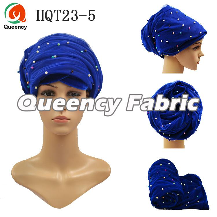 Royal Blue Muslim Beaded Turban