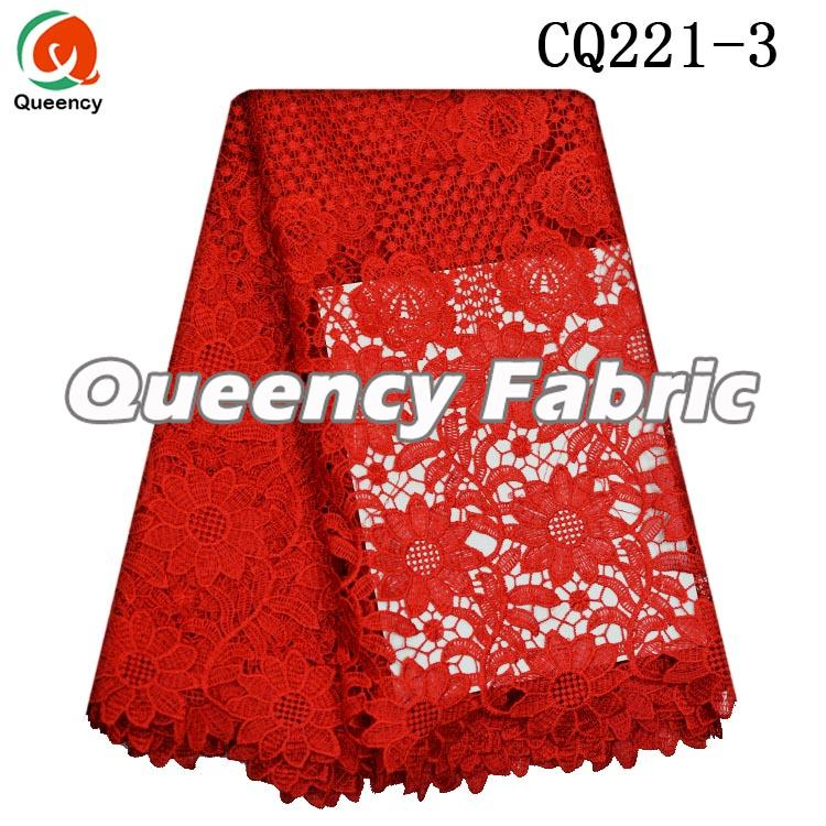 Red Nigeria Lace Cupion Fabric