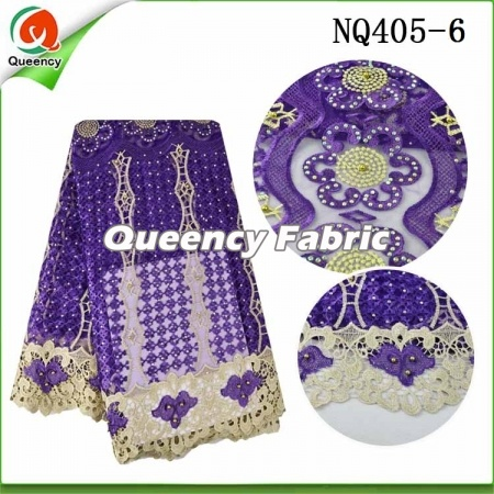 Netting Lace African Fabric With Stones And Beaded